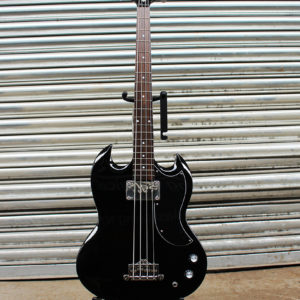 Black Epiphone EB-0 short scale bass front view