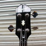 Black Epiphone EB-0 short scale bass front headstock view