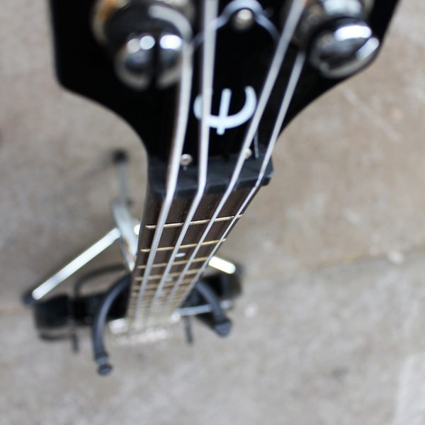 Black Epiphone EB-0 short scale bass top